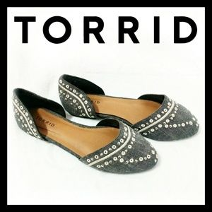 Torrid Demin Studded Pointed Ballet Flat Shoes